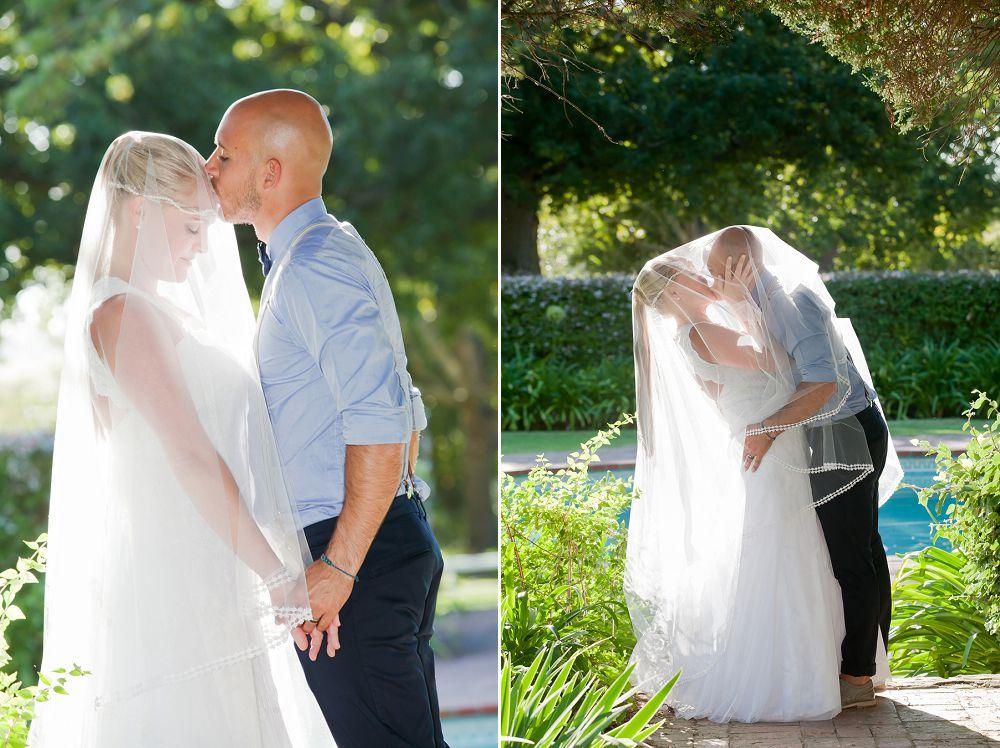bridal couple in romantic garden setting