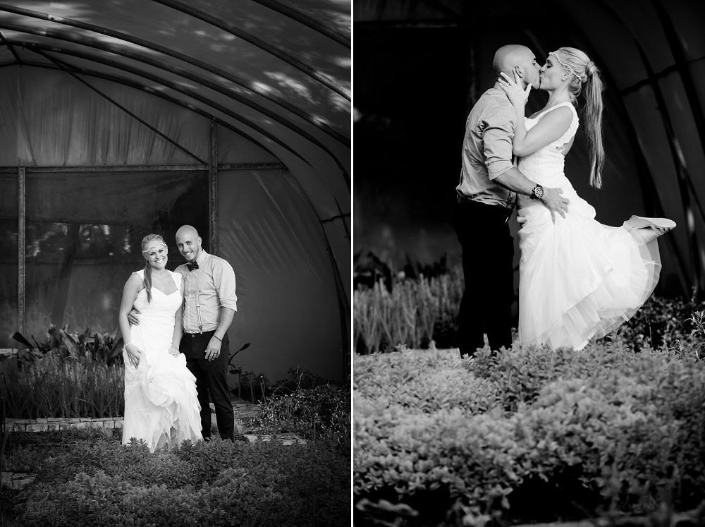 bridal couple in greenhouse