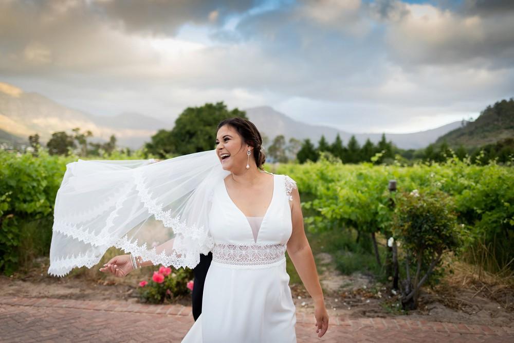 Franschhoek elopement happy bride