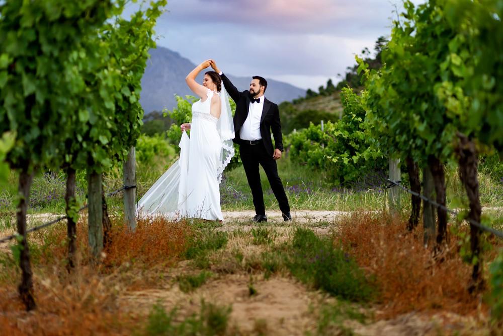 Franschhoek elopement couple in vineyards
