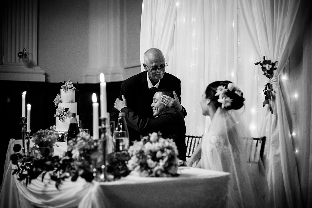 Emotive wedding photography grooms granddad