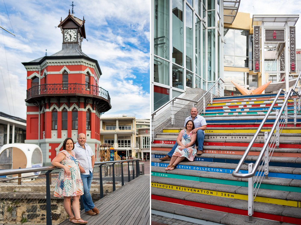 Cape Town couple shoot Victoria and Alfred Waterfront clock tower