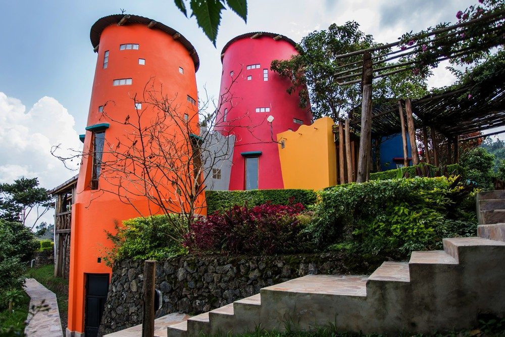Colourful towers of Chameleon Hill Lodge